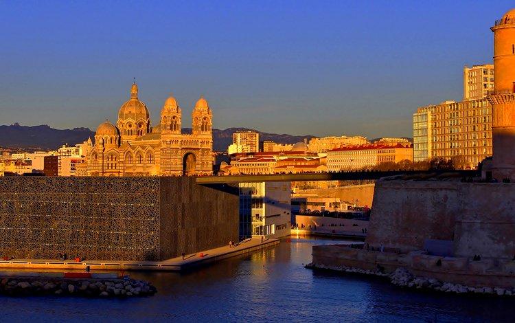небо, закат, стена, дома, франция, купол, гавань, марсель, the sky, sunset, wall, home, france, the dome, harbour, marseille
