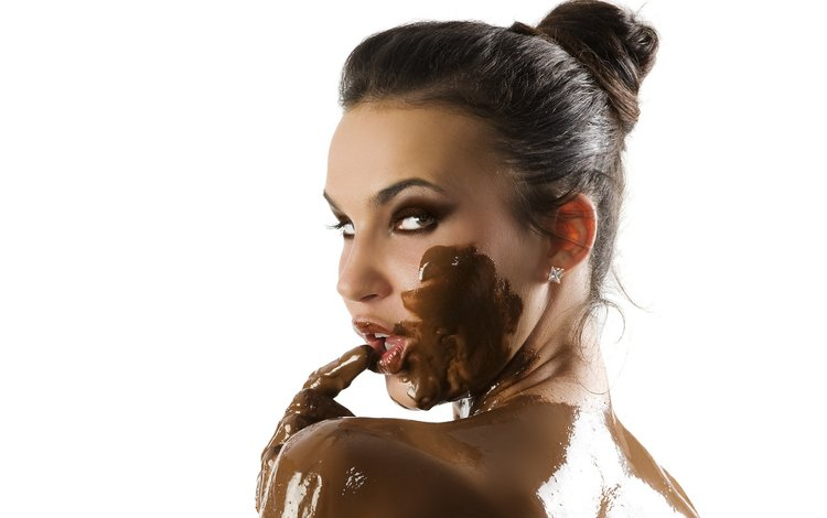 девушка, брюнетка, взгляд, лицо, шоколад, girl, brunette, look, face, chocolate