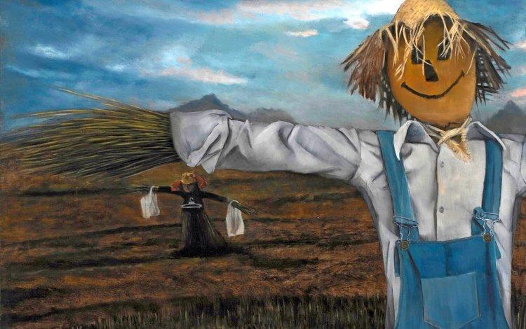 картина, christer karlstad, норвежский художник, scarecrows, picture, norwegian artist