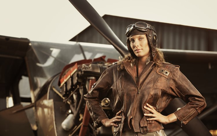 девушка, самолет, пилот, куртка, шатенка, girl, the plane, pilot, jacket, brown hair