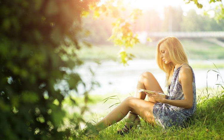трава, девушка, платье, блондинка, лето, профиль, книга, читает, grass, girl, dress, blonde, summer, profile, book, reads
