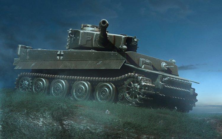 tiger, night, tank, german, heavy
