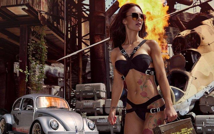 auto, tattoo, bikini, devushka