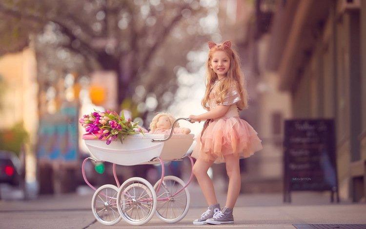 девочка, улица, коляска, girl, street, stroller