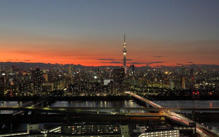 япония, башня, токио, roaș, japan, tower, tokyo