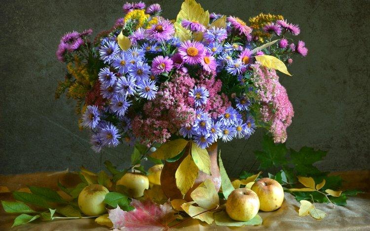 листья, яблоки, осень, букет, астры, leaves, apples, autumn, bouquet, asters