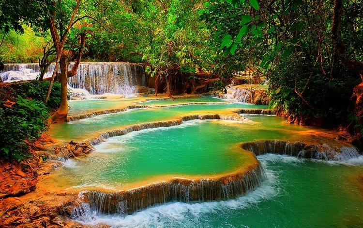 деревья, скалы, природа, лес, водопад, лаос, kuang si waterfall, trees, rocks, nature, forest, waterfall, laos