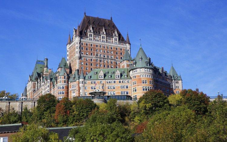 деревья, осень, канада, квебек, замок фронтенак, trees, autumn, canada, qc, the château frontenac