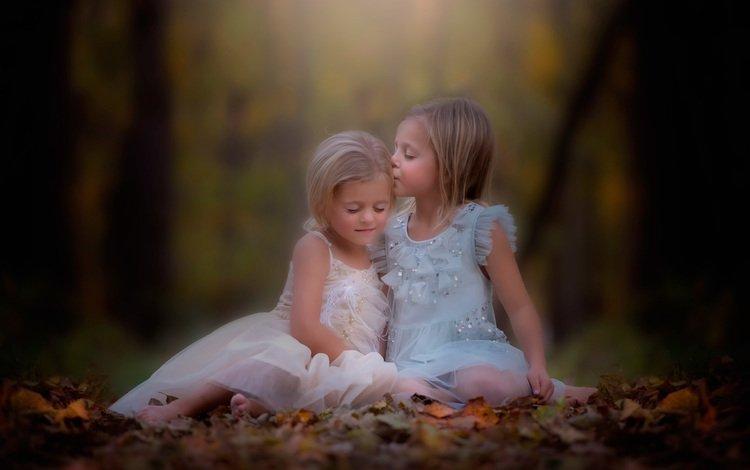 осень, девочки, поцелуй, danielle waage, autumn, girls, kiss
