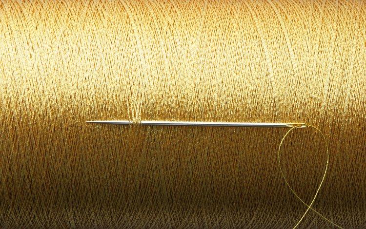 нити, золото, игла, нить, золотая, катушка, бобинный, thread, gold, needle, coil, reel