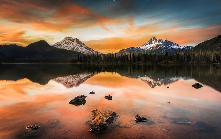 lake, sunset, landscape, portland, pacificwest, sparks lake