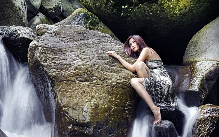 девушка, платье, водопад, girl, dress, waterfall