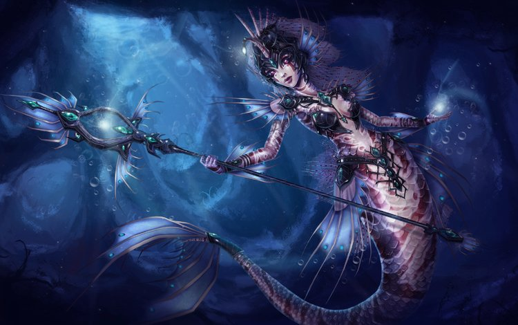 art, girl, under water, staff, tail, mermaid, nami, league of legends