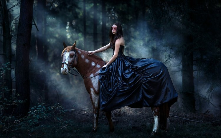 лошадь, лес, девушка, маска, платье, конь, horse, forest, girl, mask, dress