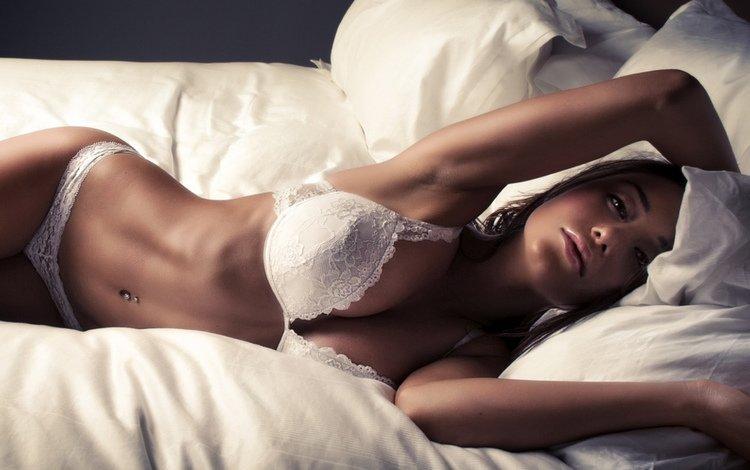 girl, brunette, beauty, model, bed, linen, hot, styling