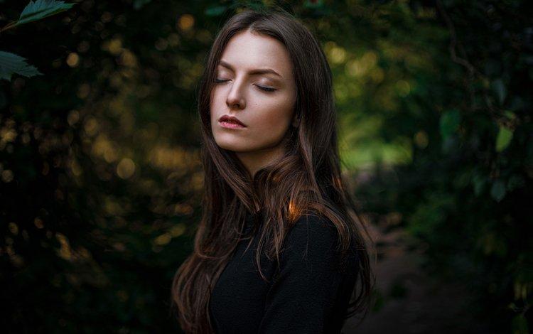 листья, девушка, портрет, зеленые, волосы, красивая, карина сунцева, leaves, girl, portrait, green, hair, beautiful, karina sunceva