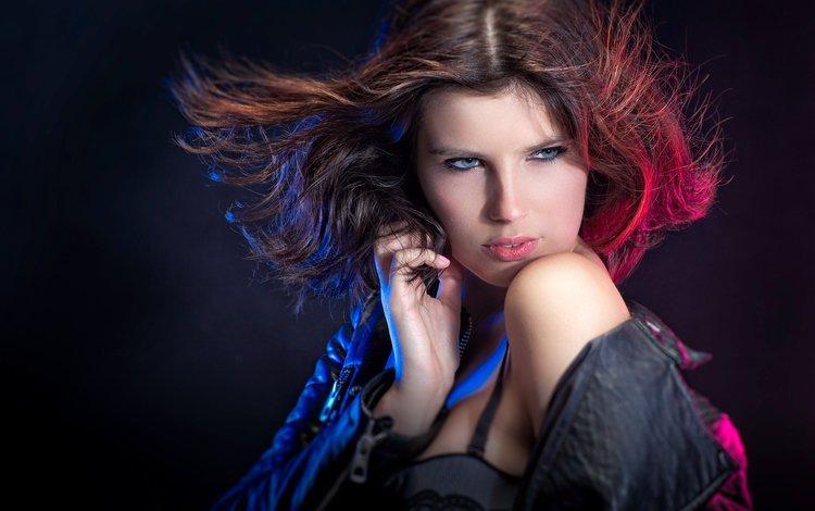 свет, девушка, взгляд, макияж, плечо, куртка, john bouma, light, girl, look, makeup, shoulder, jacket