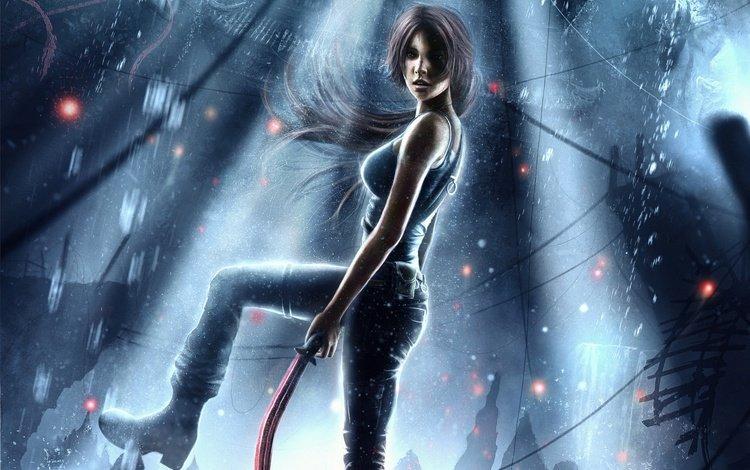 girl, lara croft, video game, tomb raider reborn, weapons.