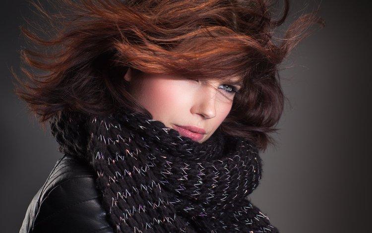 девушка, взгляд, шатенка, шарф, john bouma, girl, look, brown hair, scarf