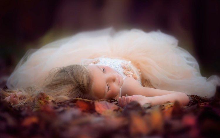 листья, платье, девочка, danielle waage, leaves, dress, girl