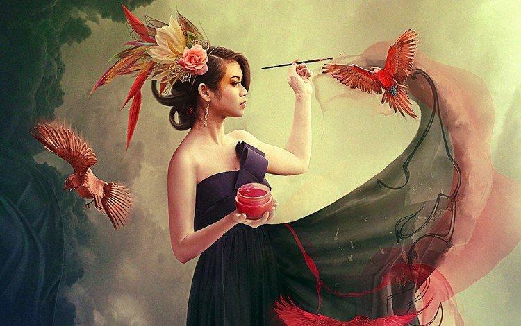 девушка, краска, птицы, кисть, фотоманипуляция, girl, paint, birds, brush, photo manipulation