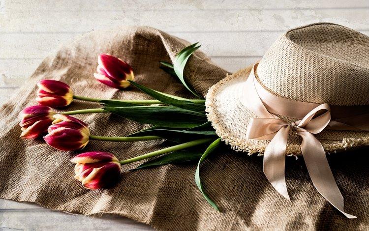 цветы, тюльпаны, лента, шляпа, flowers, tulips, tape, hat