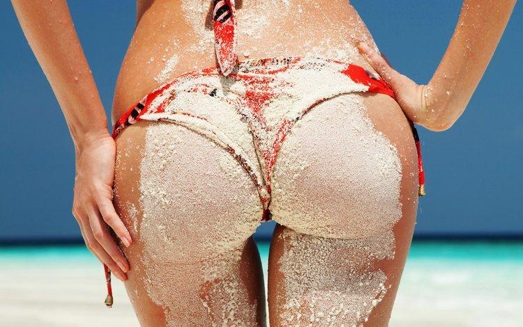 небо, море, песок, пляж, попа, купальник, the sky, sea, sand, beach, ass, swimsuit