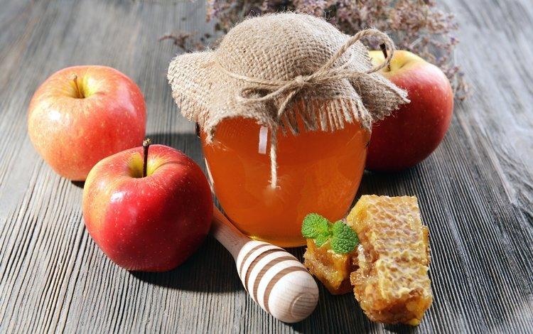 яблоки, соты, мед, банка, apples, cell, honey, bank