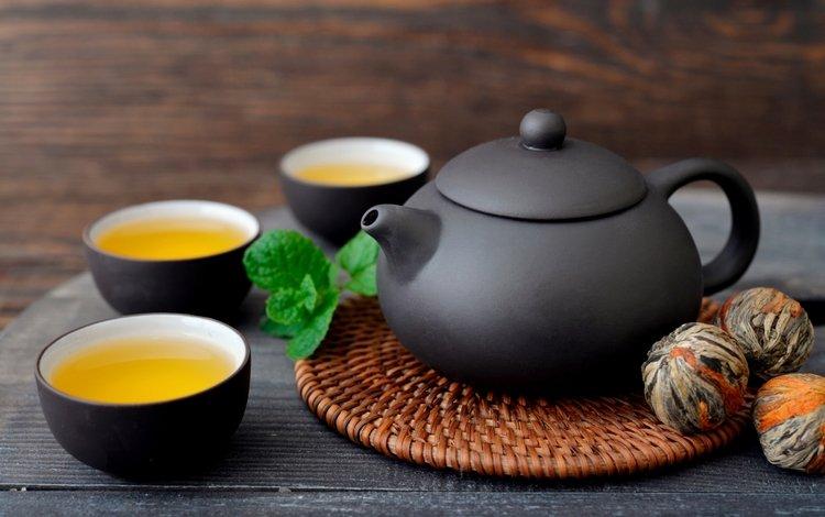 мята, зелёный, напиток, чай, чайник, чашки, mint, green, drink, tea, kettle, cup