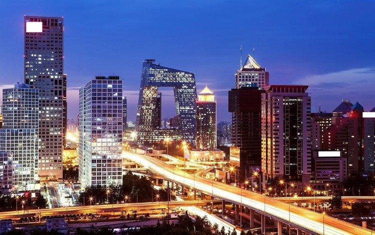 ночь, огни, город, китай, пекин, night, lights, the city, china, beijing