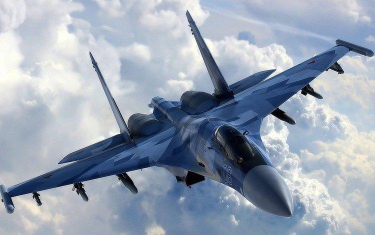 the plane, fighter, su-35