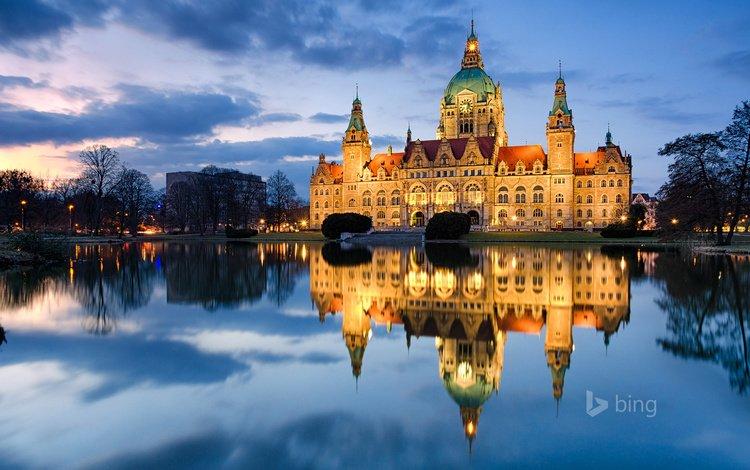 германия, ганновер, bing, city hall, germany, hanover