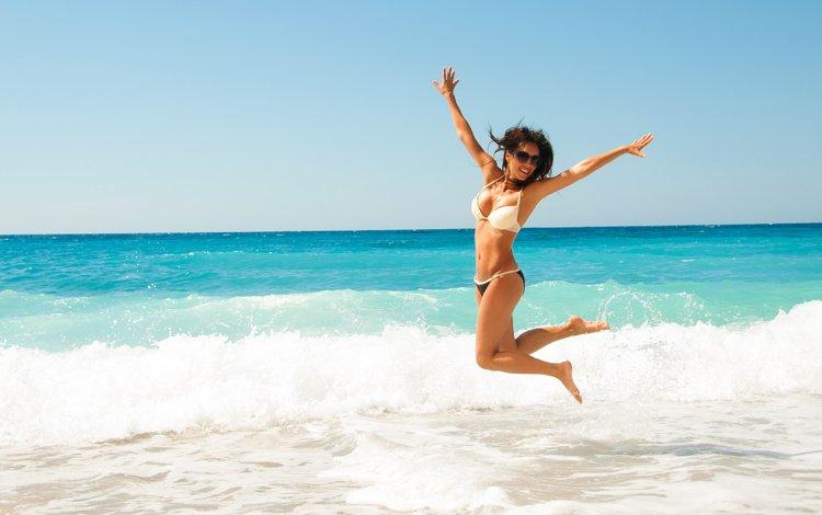 вода, девушка, пляж, счастье, бикини, water, girl, beach, happiness, bikini