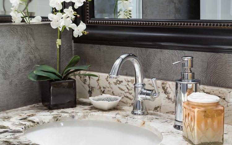зеркало, кран, орхидея, раковина, ванная комната, умывальник, mirror, crane, orchid, sink, bathroom