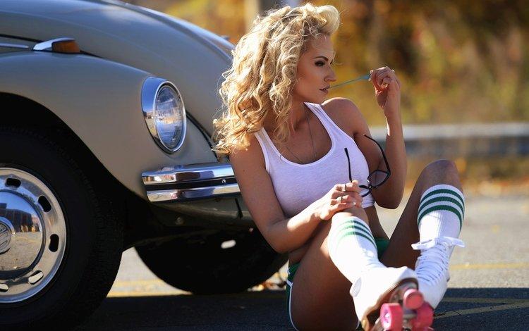девушка, gевочка, eric snyder, блондинка, модел, фотограф, фигура, майка, фитнес, гольфы, ролики, girl, blonde, model, photographer, figure, mike, fitness, knee, videos