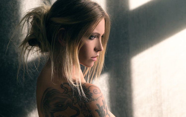 girl, blonde, look, tattoo, hair, face, miss you, joachim bergauer