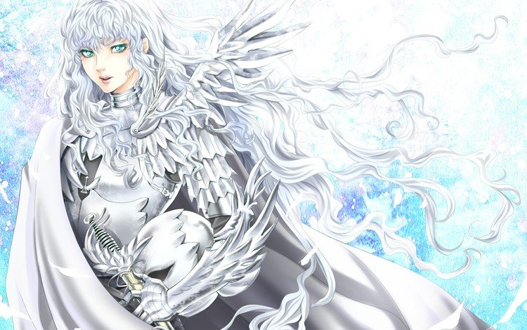 art, sword, helmet, guy, armor, white hair, berserk, tamari, griffith