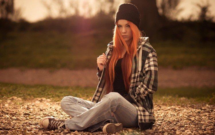 девушка, розати, рыжая, кеды, модель, шапочка, рубашка, штаны, зара axeronias, girl, rosati, red, sneakers, model, cap, shirt, pants, zara axeronias