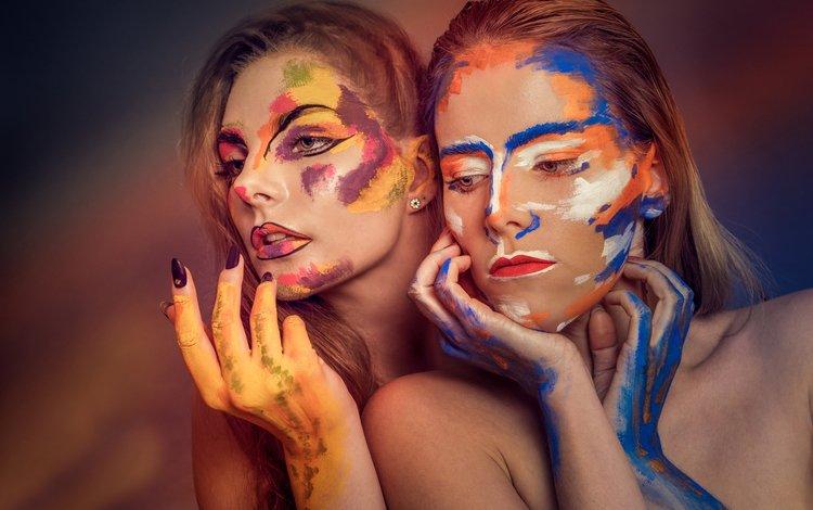 арт, краска, макияж, две девушки, three of five colors, art, paint, makeup, two girls