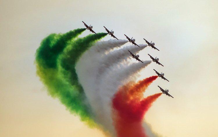 flight, smoke, aircraft, show, stroy, air show