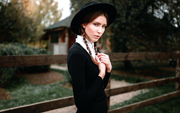 девушка, шляпка, косички, георгий чернядьев, amish, girl, hat, braids, george chernyadev
