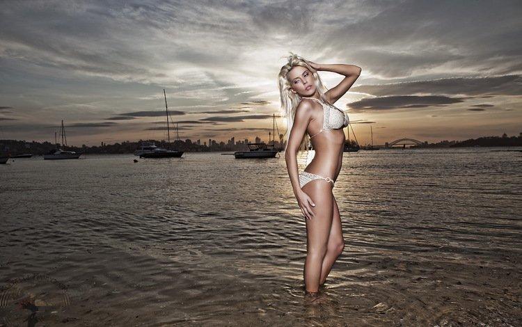 девушка, море, поза, бикини, girl, sea, pose, bikini