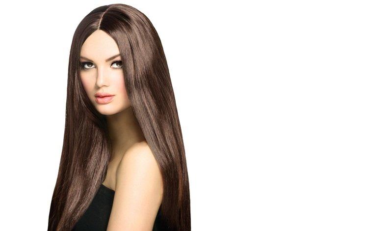 девушка, взгляд, модель, белый фон, красивая, длинные волосы, карие глаза, girl, look, model, white background, beautiful, long hair, brown eyes