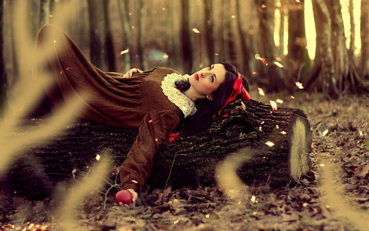 trees, nature, leaves, girl, autumn, lies, hair, apple, makeup, snow white, red lips