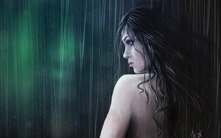 арт, девушка, профиль, спина, дождь, волосы, лицо, мокрая, art, girl, profile, back, rain, hair, face, wet