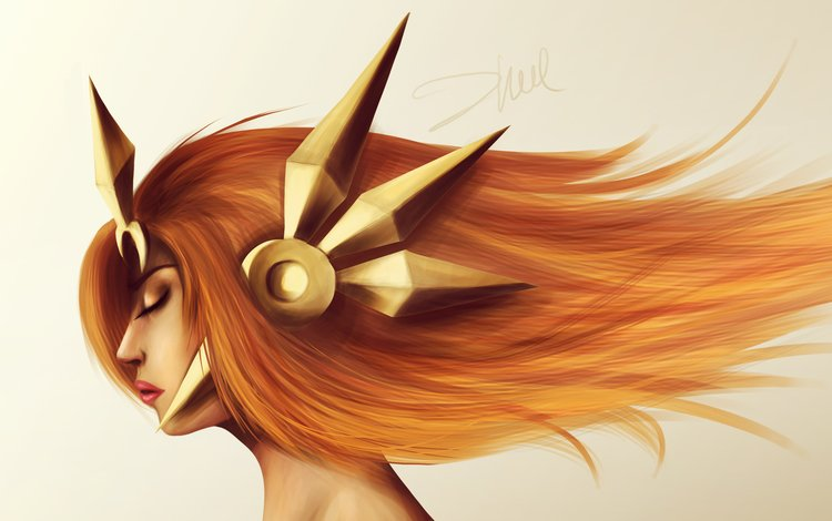 art, girl, profile, hair, the game, face, league of legends, leona