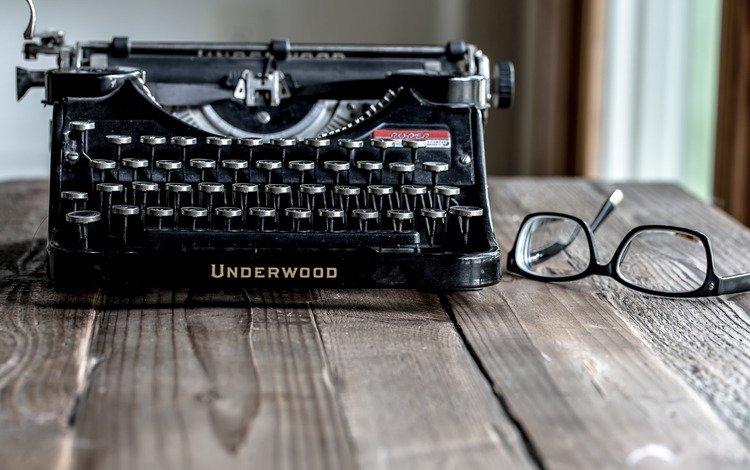 очки, бокалы, печатная машинка, underwood, пишущая машинка, glasses, typewriter