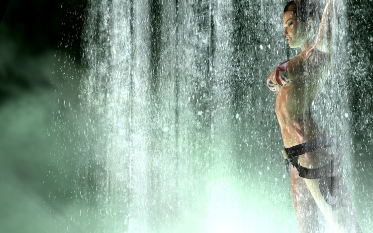 girl, weapons, pose, waterfall, the game, swimsuit, lara croft, tomb raider