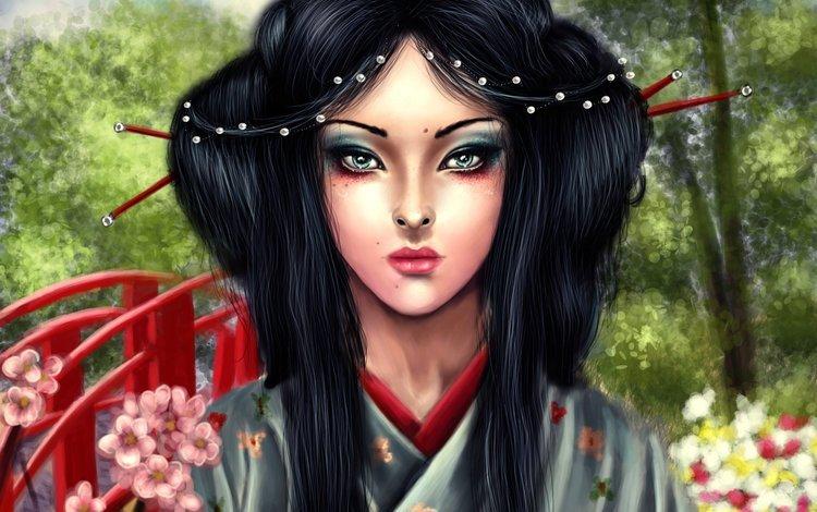 арт, гейша, деревья, asa mitsuko, мостик, взгляд, волосы, лицо, макияж, кимоно, art, geisha, trees, asa horace, the bridge, look, hair, face, makeup, kimono