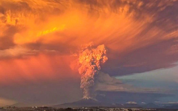 the eruption of the volcano